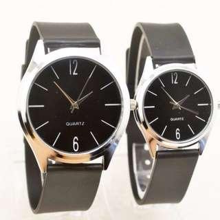 🚚 Thin Plain Couple Watch Black