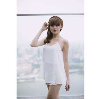 AE Agneselle Roland Chiffon Top in White