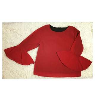 Bell Sleeve Top In Red