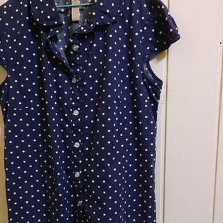 復古藍色點點無袖襯衫