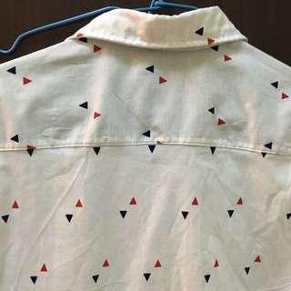 泰國買 近全新 文青風 三角形幾何襯衫