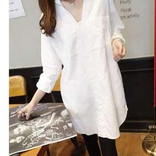 白色長版襯衫