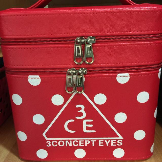 3ce紅色化妝箱 美甲美睫箱