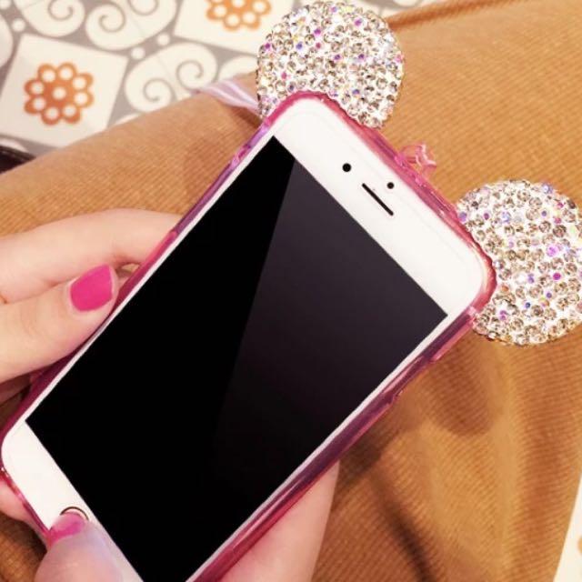 💎鑽石米奇耳朵手機殼矽膠軟殼(剩蘋果4.7吋)