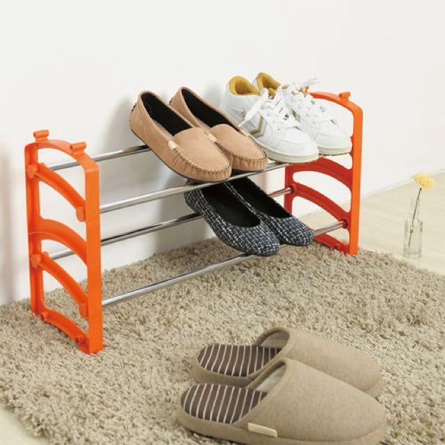 日系可疊式鞋架(果澄橘)買一送一