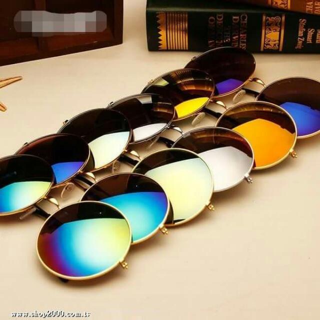 (現貨)復古圓形鏡面(反光)墨鏡