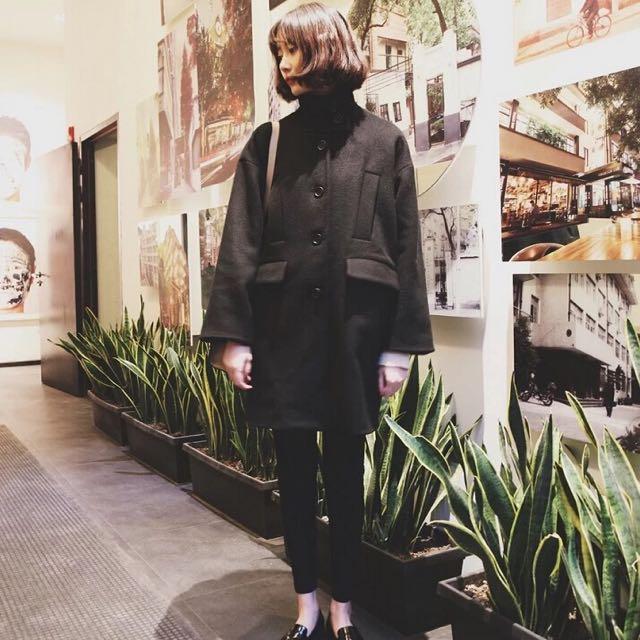 韓版復古寬鬆中長款修身大衣外套