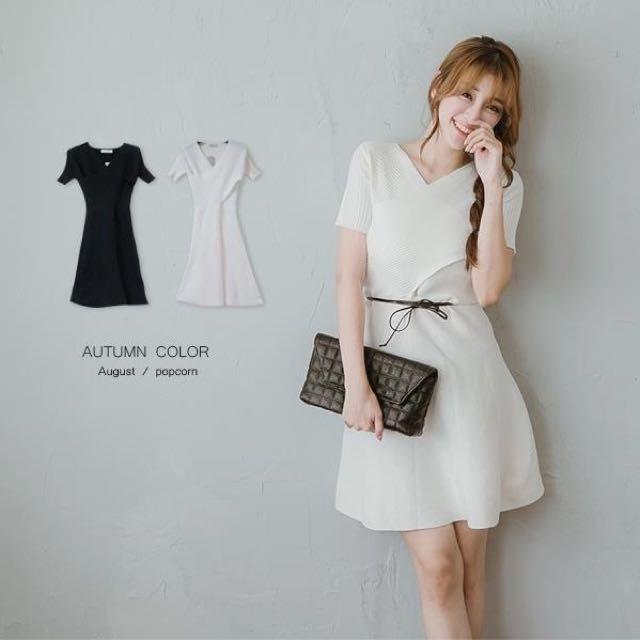 全白針織洋裝