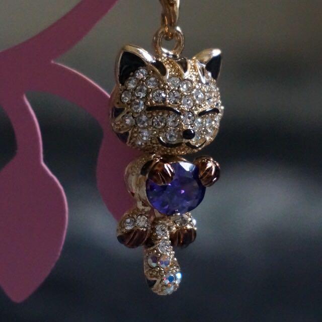 施華洛世奇水晶貓吊飾