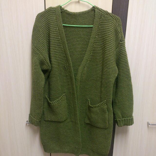 免運‼️口袋反摺袖開襟針織外套