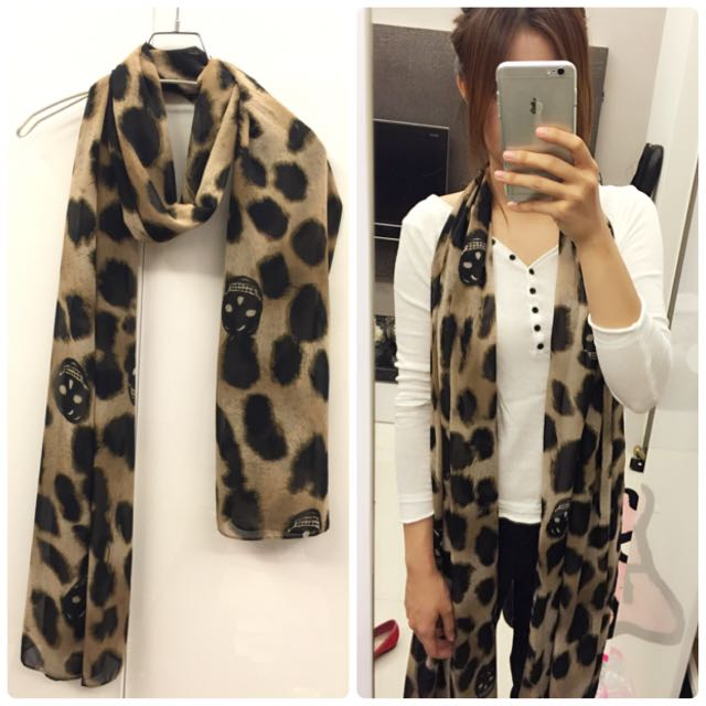 豹紋骷髏絲巾