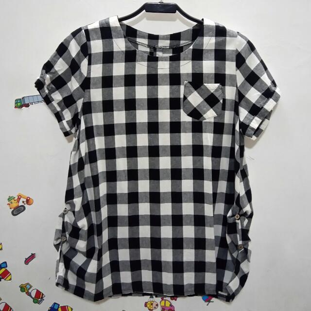 💠黑白格子短袖上衣💠 9成新 〖運費另計〗