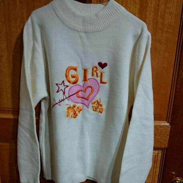 女童 米白色針織毛衣