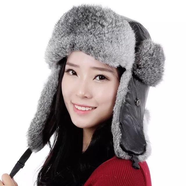 ✨冬季防寒必備 兔毛皮質護耳帽