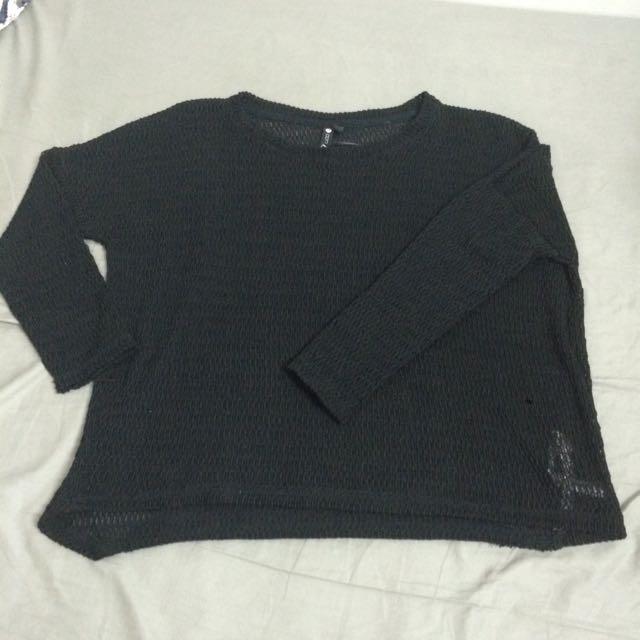 寬鬆 歐美 黑色針織罩衫