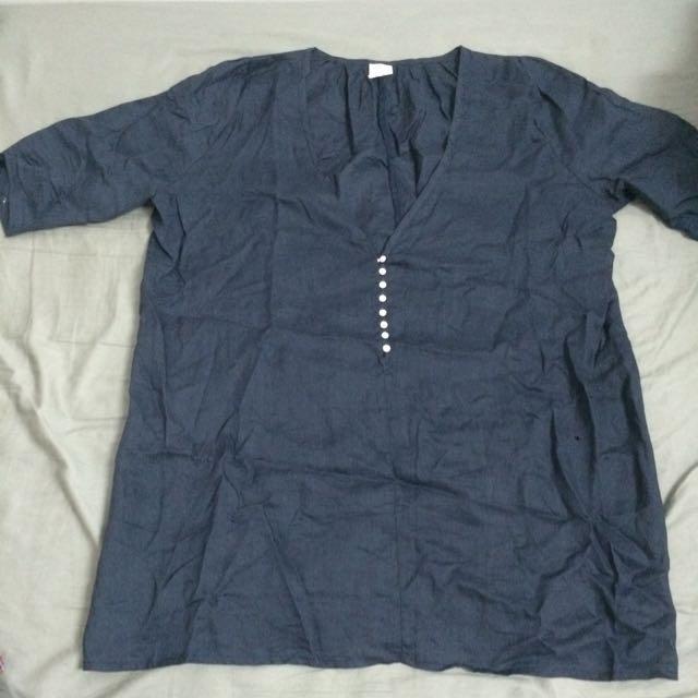森林系 七分 深V領 藏藍棉麻長版洋裝