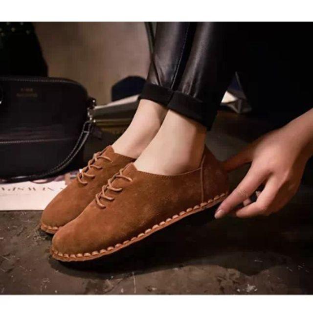 # List of Ande # 韓版 流行 縫線感 絨布面 低跟休閒鞋 / 平底鞋 / Size 37