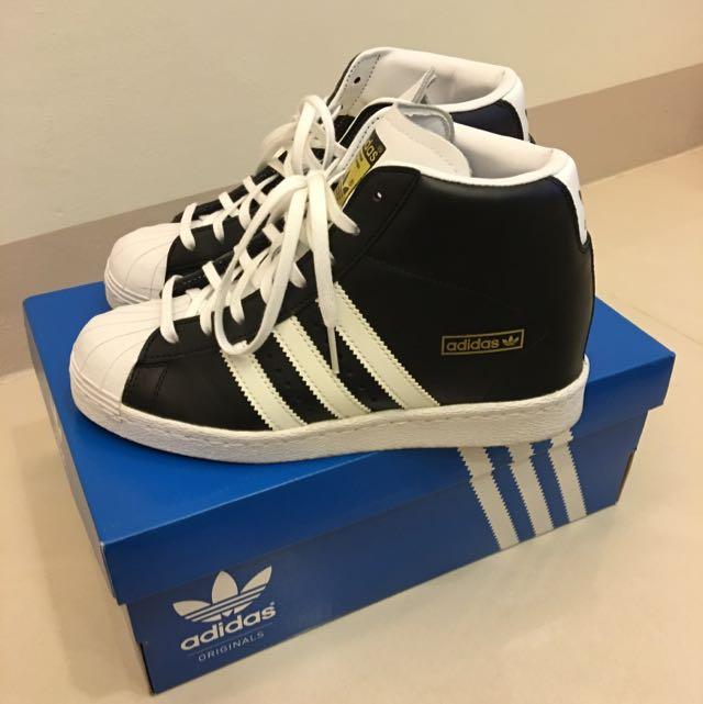 Adidas Superstar 黑白高筒內增高球鞋。愛迪達真品