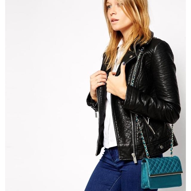 ASOS 側背肩背小包 ASOS Quilted Cross Body Bag with Metal Bar and Wrapped Chain Strap