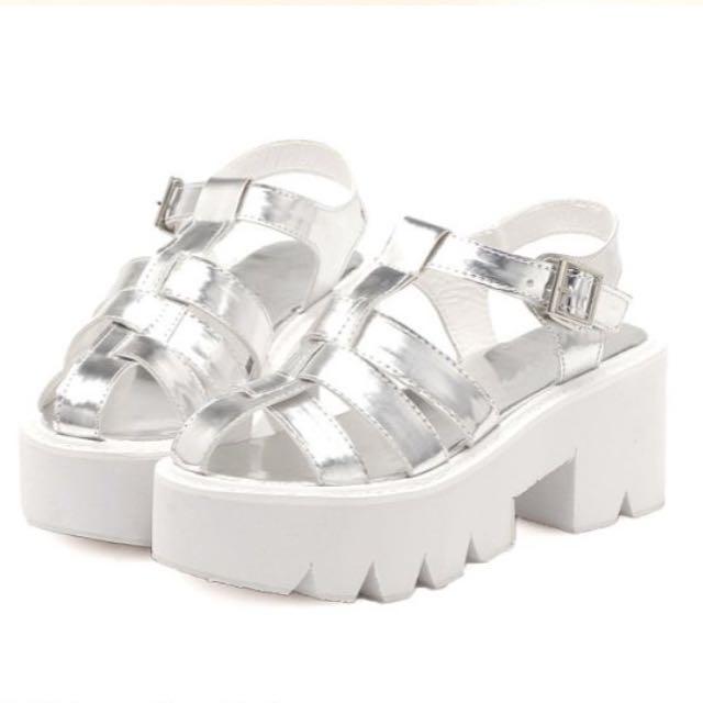 5f061c6cce8 (INSTOCK) Holographic Cage Platform Sandal - Silver (Stylenanda Inspired)
