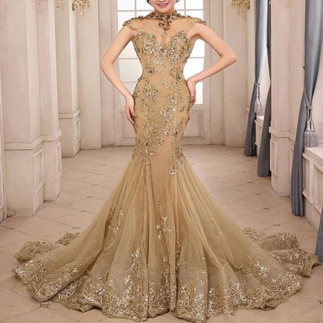 PENDING* Luxury Oriental Champagne Mermaid Cut Wedding Gown, Luxury ...