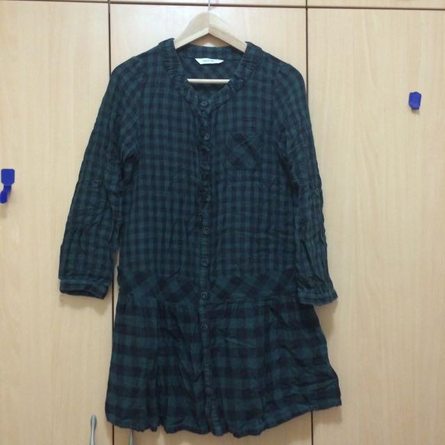tasse  tasse 綠格連身裙(日本製)