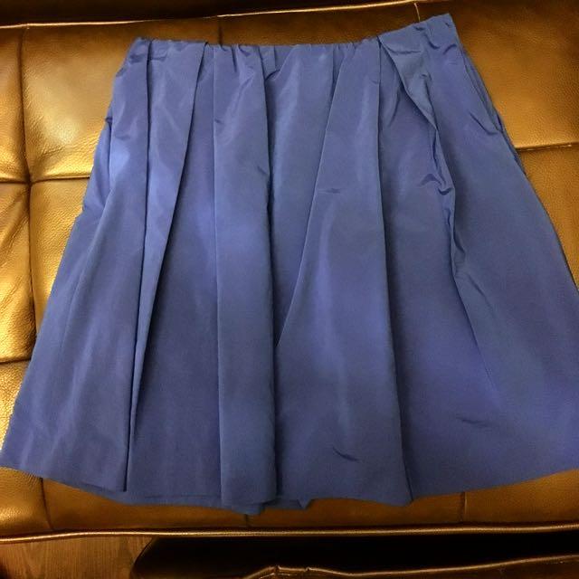 日本TOMMRROWLAND寶藍色打褶A字裙