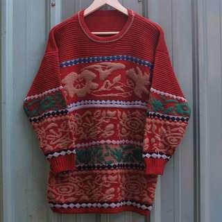 🚚 vintage 北歐立體編織紋古著毛衣 sw-20