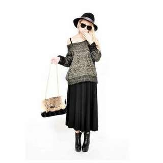 黑金色針織毛海毛衣