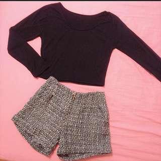 ◆ 黑色短版長袖&毛呢西裝短褲