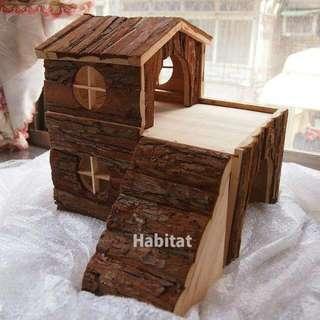 【九成新 含運!!!】刺蝟 松鼠 蜜袋鼯 天竺鼠 黃金鼠 手工原木製造 雙層木屋別墅 小動物窩