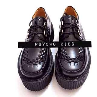 日本原宿punk tuk underground geroge cox同款 進口合成皮 歐美 龐克鞋 厚底鞋