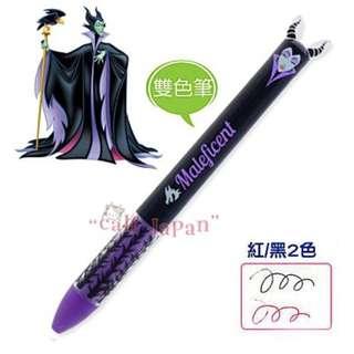 日本正版 迪士尼 黑魔女 MALEFICENT 兩色 原子筆 雙色筆 黑/紅