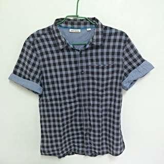 以降價👍DKNY經典灰格短袖薄襯衫