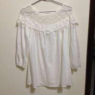 純白 流蘇 長版娃娃洋裝