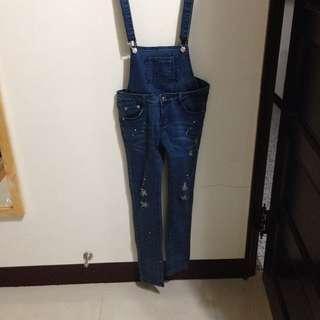 刷破潑漆牛仔褲 吊帶褲