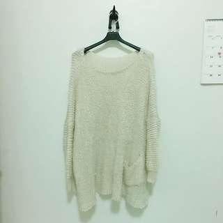 【冬。衣料】 QQ毛線長版毛衣 杏色