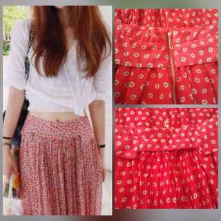902a2cfb79 **SALES** QUALITY FLOWER PRINTED PLEATED LONG SLIT SKIRT WITH LINING