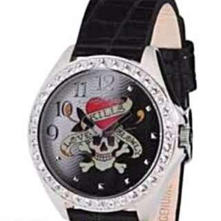 全新Ed hardy水鑽手錶