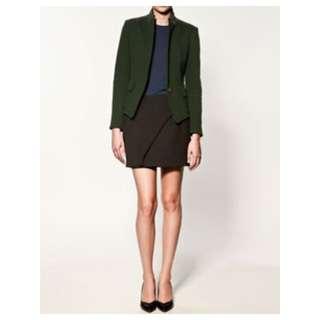 ZARA 歐美氣質 英倫 學院 單釦反摺長袖 拉鍊 硬挺墊肩 綠色西裝外套