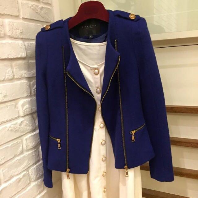 寶藍色韓版挺版外套