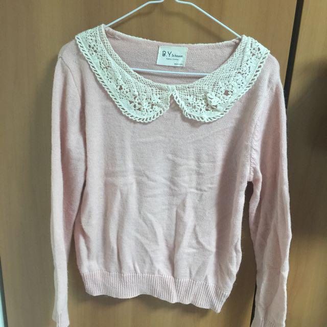 粉色可愛領針織衣