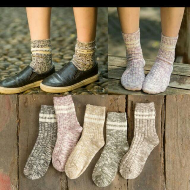 日系復古竹節紗中統襪