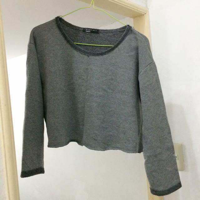 棉質短版上衣(灰)
