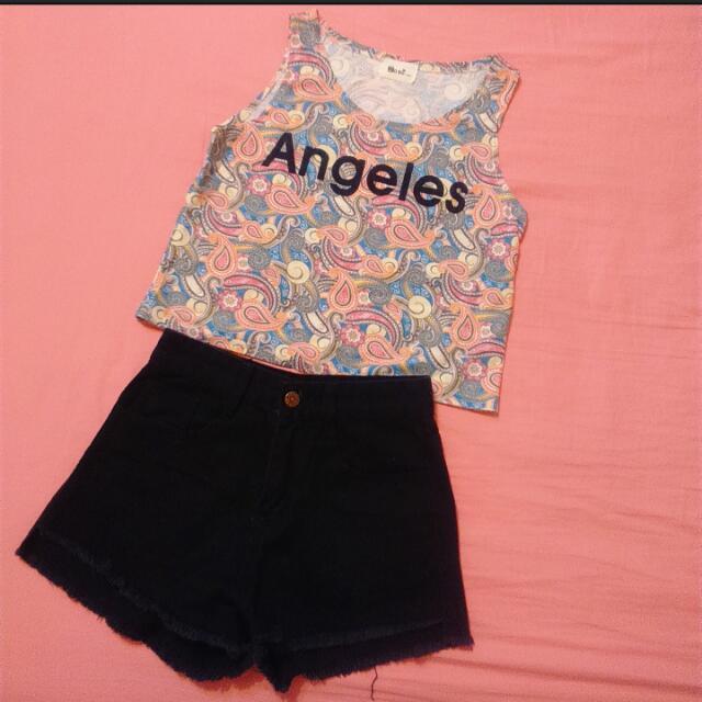 ◆ 圖騰短版背心&黑色高腰短褲