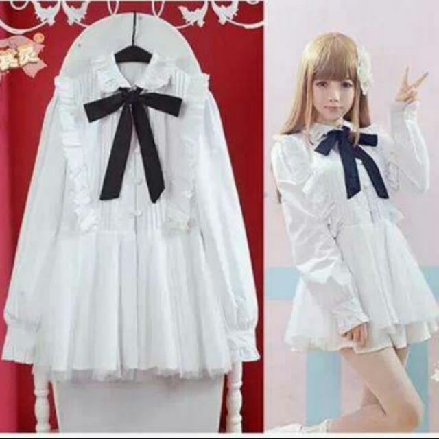 苛其靈 白色日系洋裝襯衫