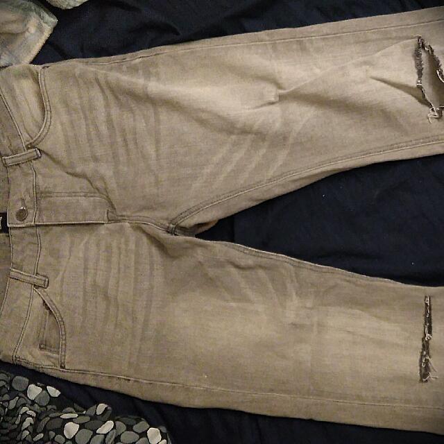 英國asos品牌 淺灰 牛仔褲 小直筒 刀破系列 W30腰 9.9新 保證正品
