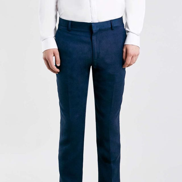 11f2db7a1199 BNWT Topman Blue Textured Skinny Fit Suit Trousers, Men's Fashion on ...