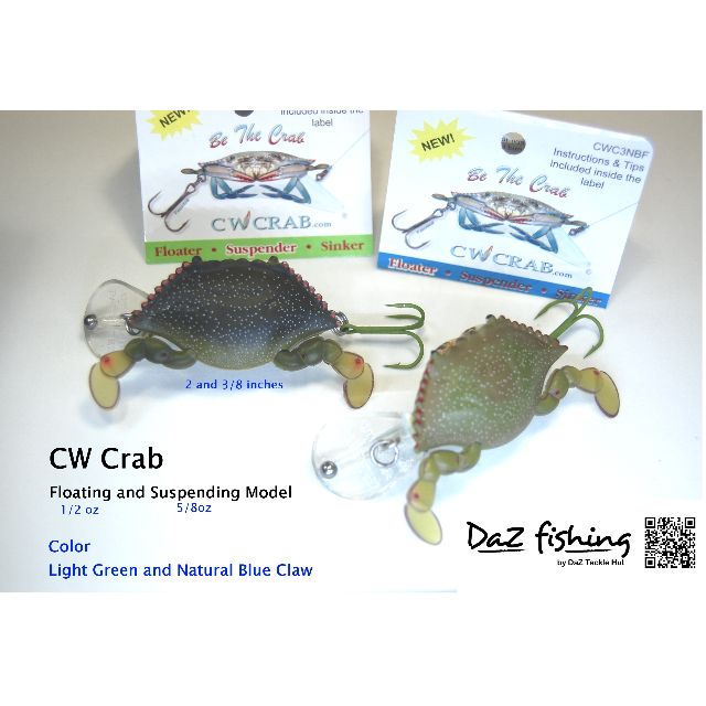 1//2 oz Lot of 3 CW Crab Be The Crab Lures Floater Floating. Light Green