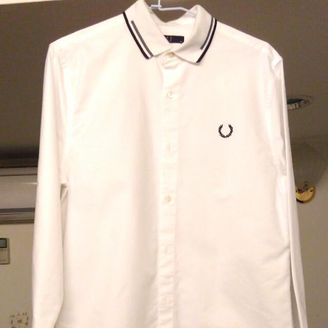 FRED PERRY 全白 限定長袖櫬衫 Polo領 材質挺 香港旺角店面購入 尺寸38=M號